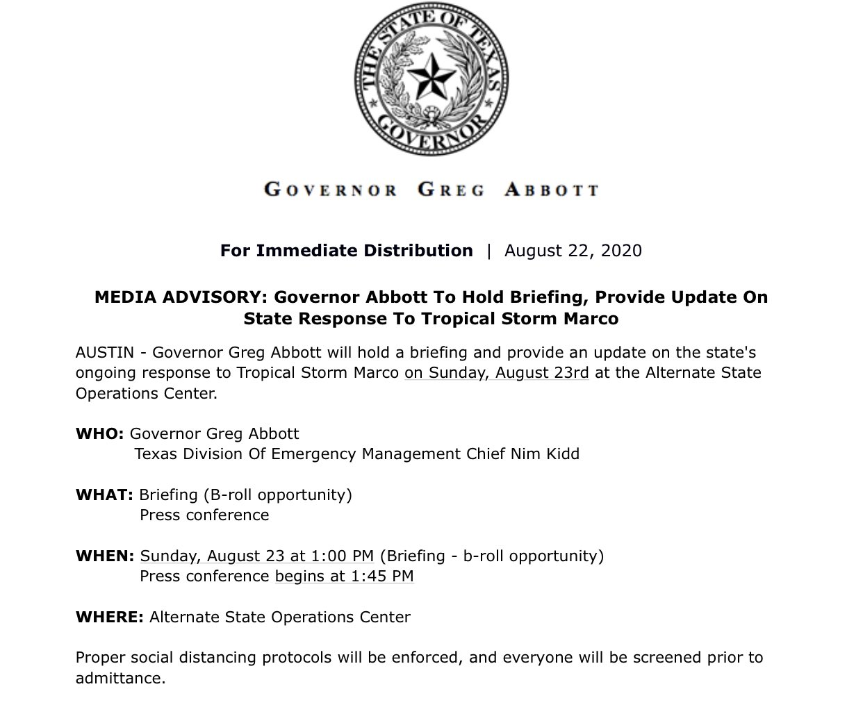 Texas Division of Emergency Management: Governor Abbott to Hold Briefing, Provide Update on State Response to Tropical Storm Marco 1