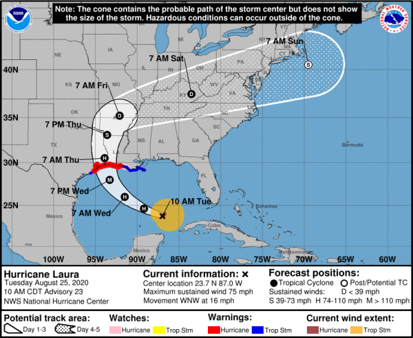 UPDATE: Hurricane Laura Tuesday, 10:00 a.m. 2