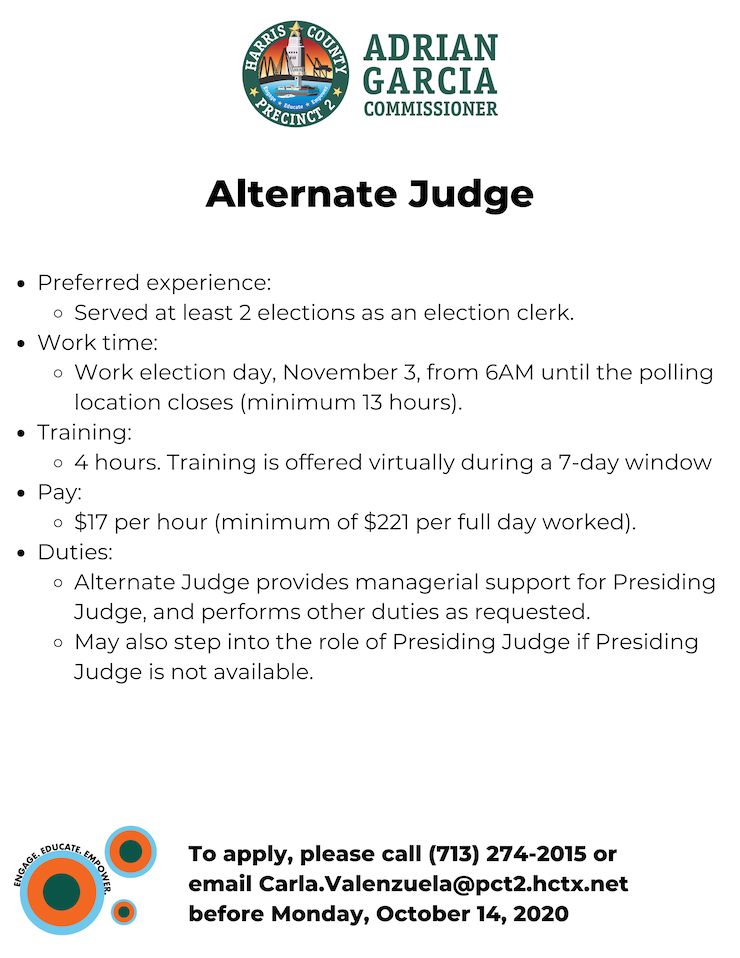 2020 Election Judges - Now Hiring 3