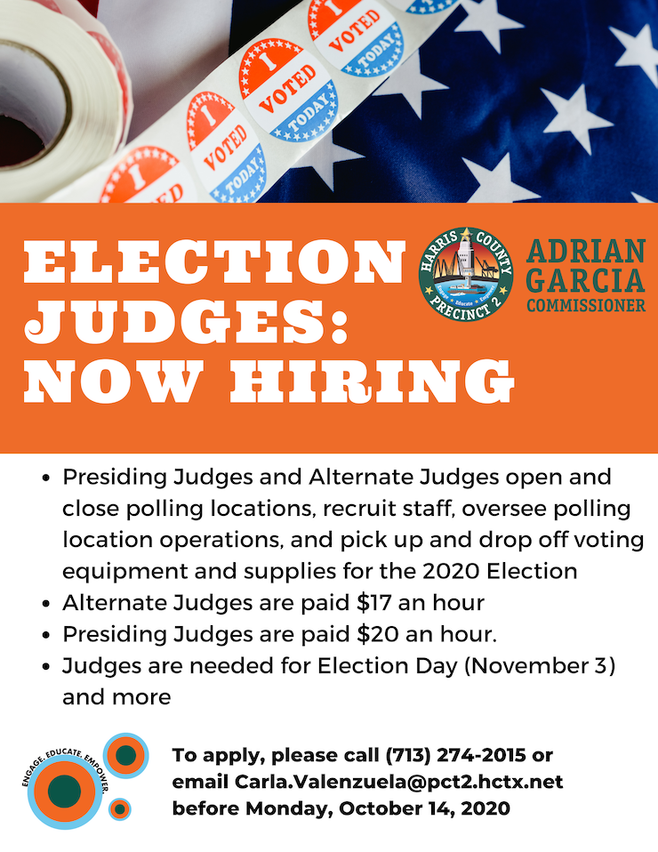 2020 Election Judges - Now Hiring 1