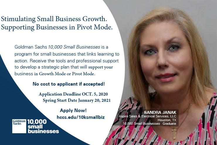 Goldman Sachs 10,000 Small Businesses Spring Cohort 2021. Application Deadline Oct. 5 1