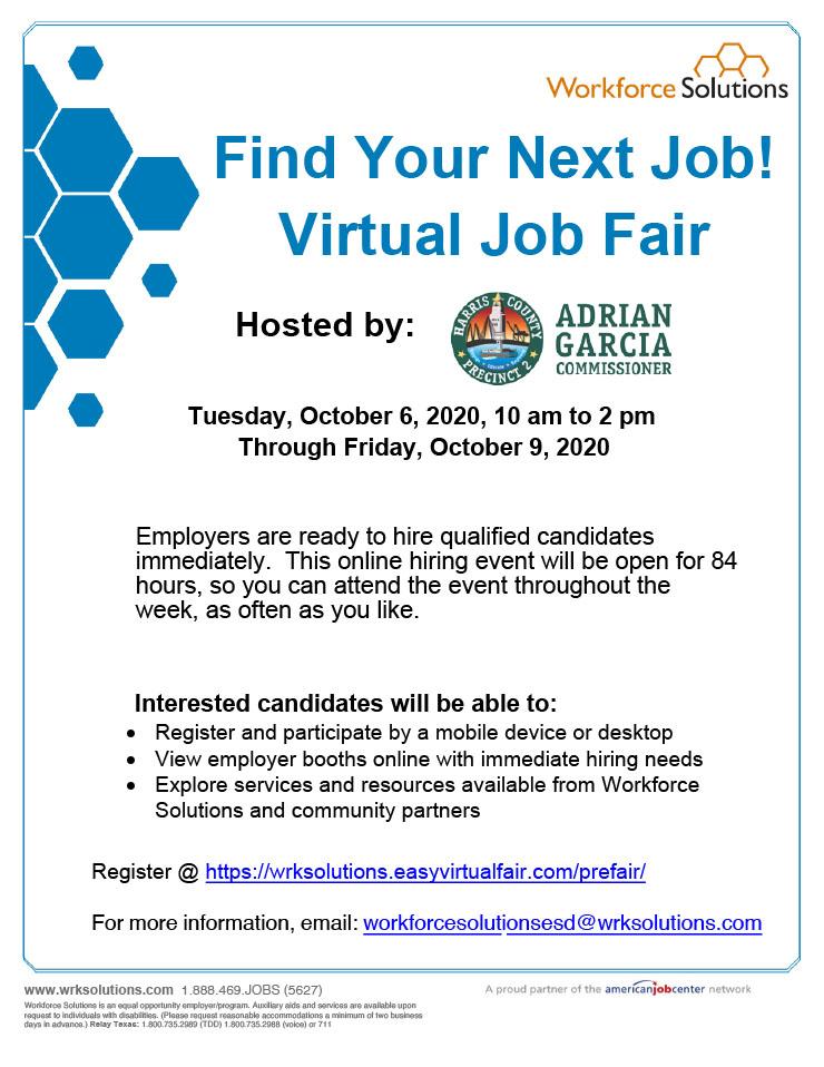 Harris County Pct. 2: Virtual Job Fair, Oct. 6 1