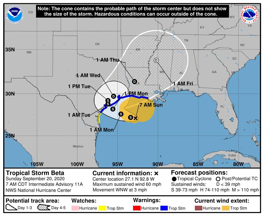 Tropical Storm Beta Update (Sunday, 10:00 a.m.) 2
