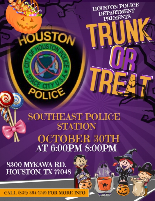 Houston Police Department Southeast Division Drive Thru Trunks or Treat, Oct. 30 1