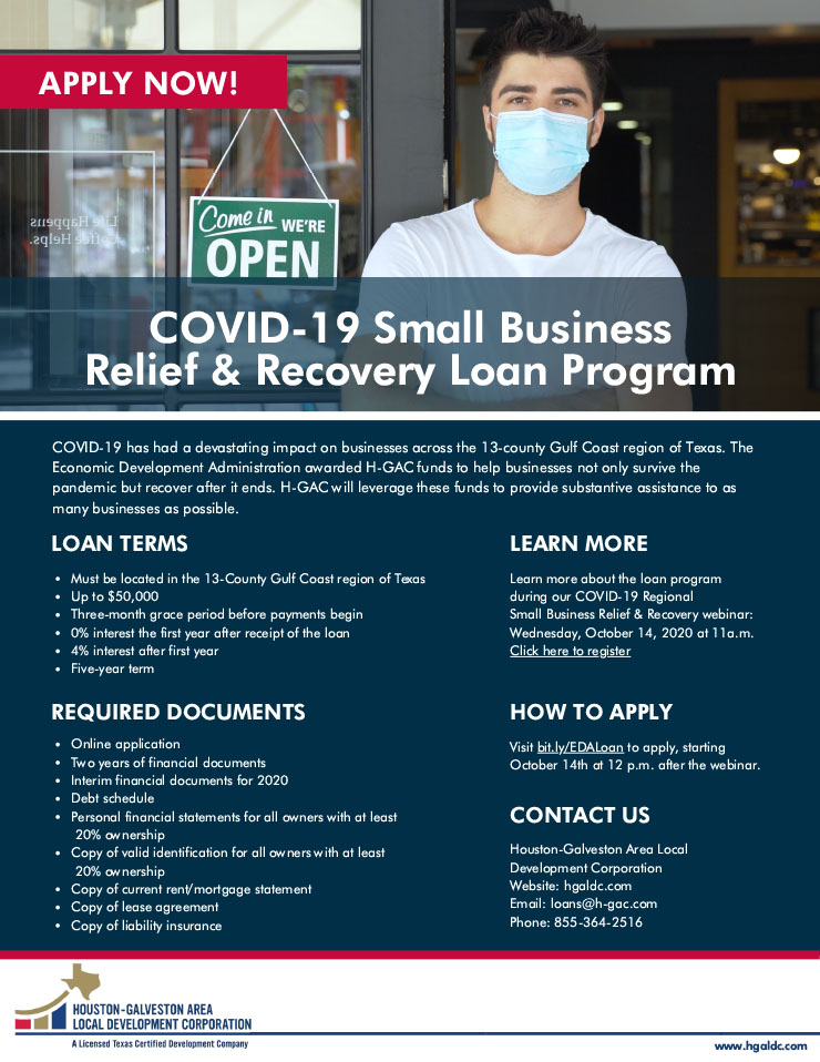 Gulf Coast COVID-19 Recovery and Relief Loan Program- Informational Webinar Oct 14 1